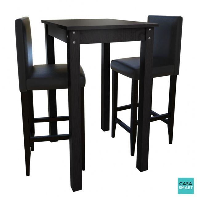 Casasmart Table haute 55 x 55 cm + 2 tabourets noir