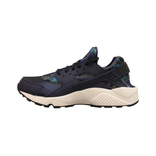 edec6d6cda123 Nike - Air Huarache Run Print Bleu 725076-400 - pas cher Achat   Vente  Baskets femme - RueDuCommerce