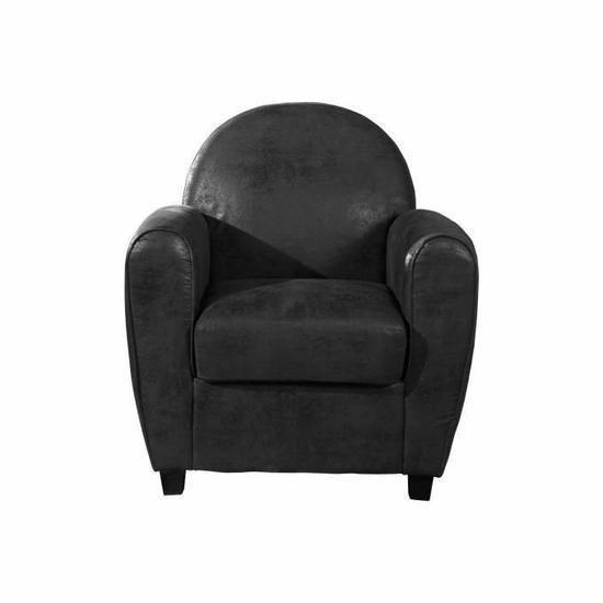 declikdeco fauteuil club effet cuir gris vieilli morgane. Black Bedroom Furniture Sets. Home Design Ideas