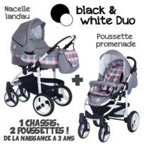 B&W - Poussette Combinée Duo 2 en 1 2017 - Landau / nacelle + poussette promenade / hamac - Nombreux coloris - Livrée avec ses accessoires