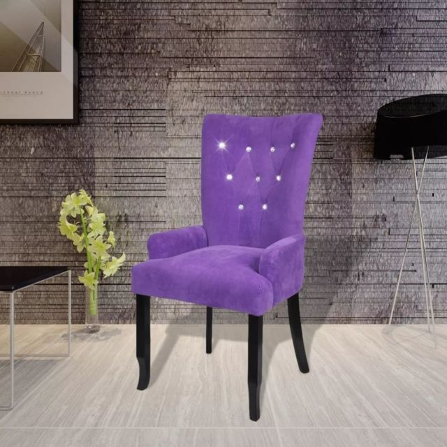 Inedit Fauteuils gamme Bridgetown Fauteuil avec cadre en bois Velours Violet