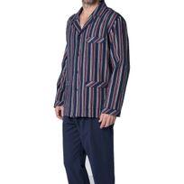 Guasch - Pyjama long : Veste boutonnée en flanelle bleu marine à rayures blanches, bordeaux, vertes et orange et pantalon uni bleu marine