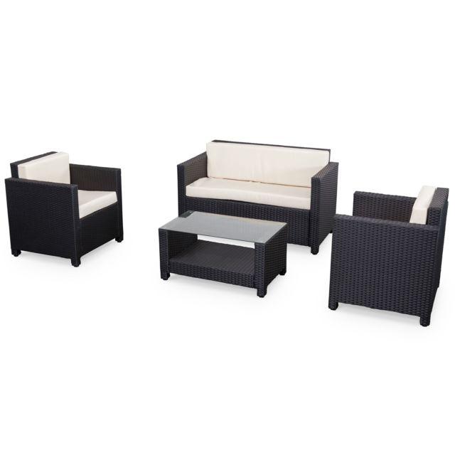 alice 39 s garden salon de jardin en r sine tress e 4 places noir perugia fauteuil canap pas. Black Bedroom Furniture Sets. Home Design Ideas