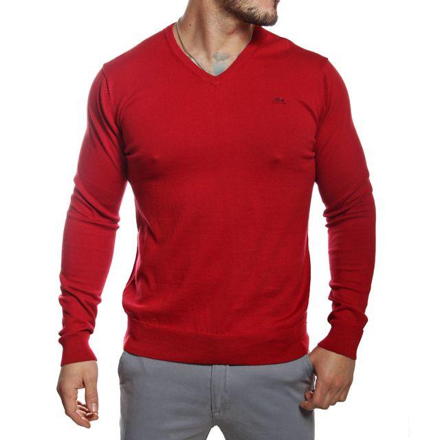 835a959fad Lacoste - Pull homme col V rouge en coton - pas cher Achat / Vente Pull  homme - RueDuCommerce