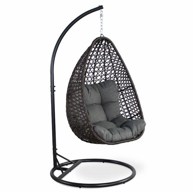 alice 39 s garden fauteuil suspendu uovo loveuse suspendue en r sine tress e marron et. Black Bedroom Furniture Sets. Home Design Ideas