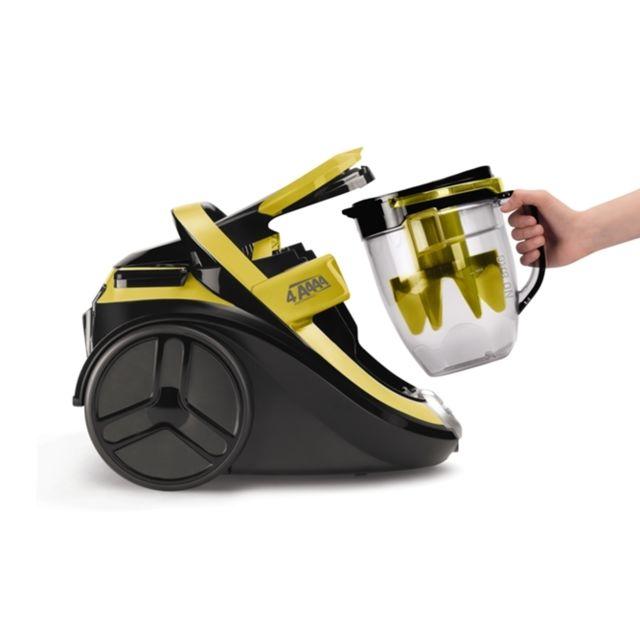 ROWENTA Aspirateur sans sac - RO7634EA - Jaune/Noir - TECHNOLOGIE Type de technologie sans sac monocyclonique Puissance 750 W- SYSTÈME DE FILTRATION Niveau(x) de filtration 2 Capacité du bac à poussière 2,5 L Filtration Filtre