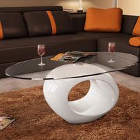 Rocambolesk - Superbe Table basse en verre avec pied blanc laqué Neuf