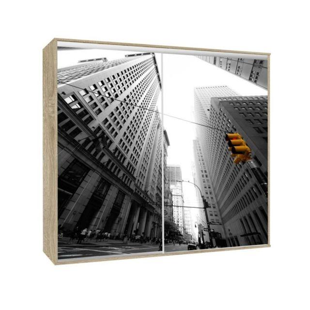 Armoire 2 portes coulissantes Loppee largeur 155 cm décor City