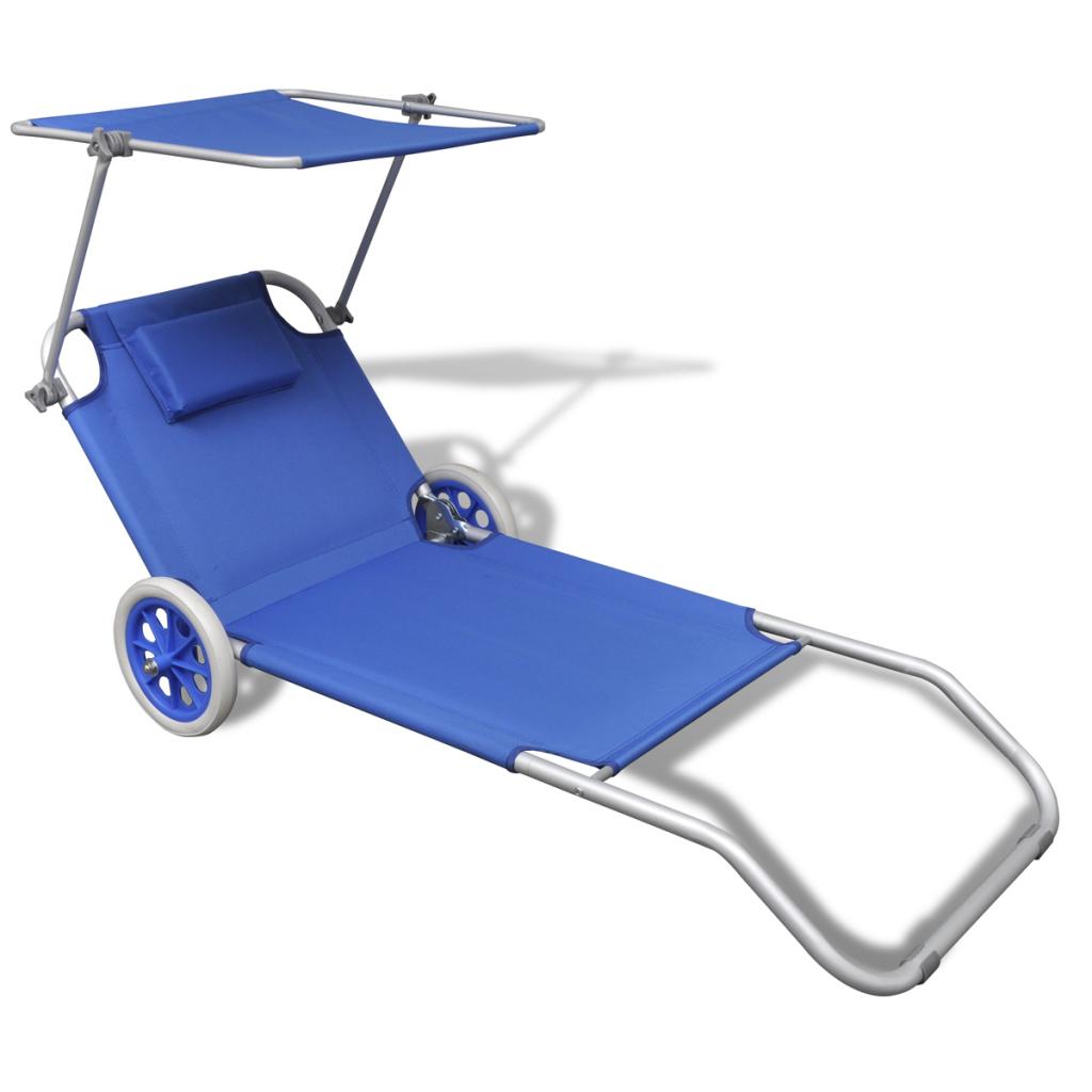 Vidaxl Lit de plage en aluminium pliable avec auvent et roues bleu