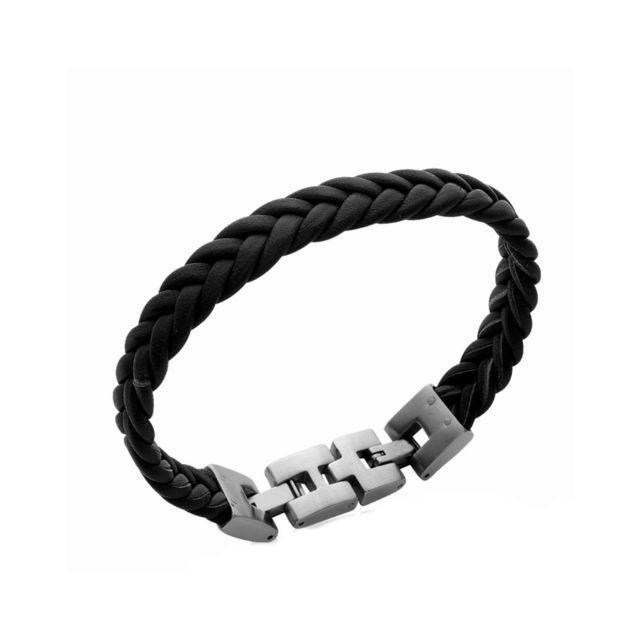 qualité authentique la plus récente technologie meilleur prix pour Bracelet Homme Acier inoxydable Cordon Cuir 10mm Noir Tressé