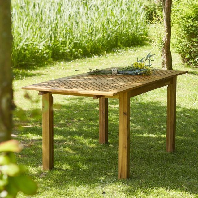 bois dessus bois dessous table de jardin en bois d 39 acacia fsc avec rallonge 6 8 places pas. Black Bedroom Furniture Sets. Home Design Ideas