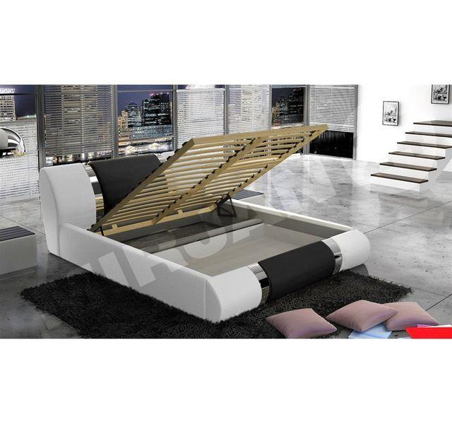 CHLOE DESIGN Structure de lit design Arlan - 180 - blanc et noir