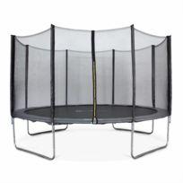 ALICE'S GARDEN - Trampoline rond Mercure Ø 400cm gris avec son filet de protection - Trampoline de jardin 400cm 4m| Qualité PRO. | Normes EU