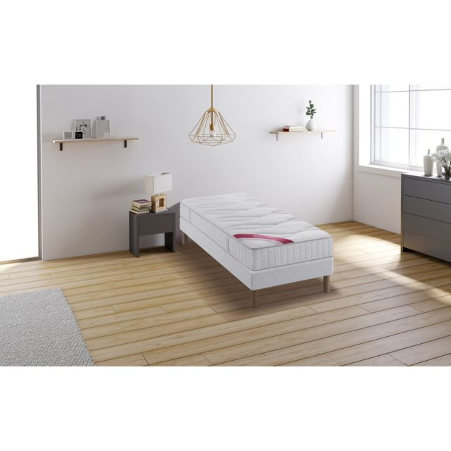 relaxima hemisphere ensemble sommier matelas m moire de forme dunlopillo 90x200 blanc pas. Black Bedroom Furniture Sets. Home Design Ideas