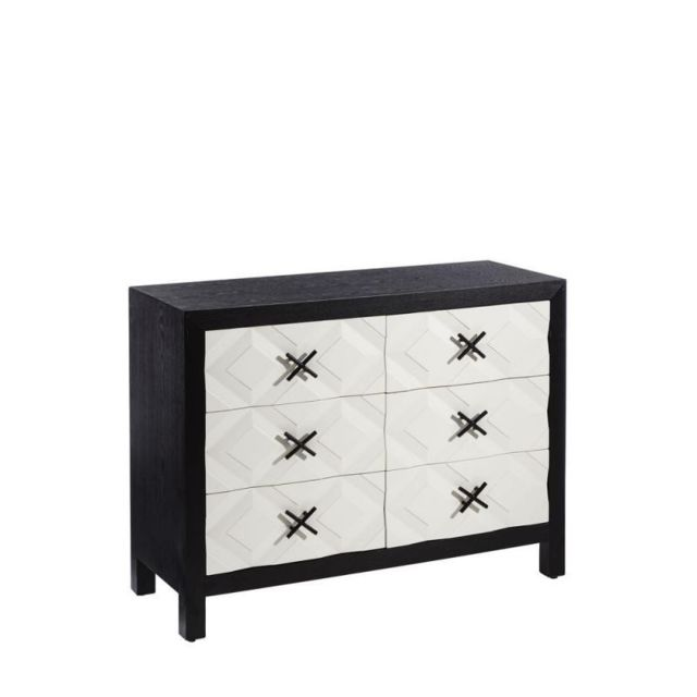 Tousmesmeubles Commode 6 tiroirs Noir/Blanc - Monoi - L 110 x l 40 x H 82