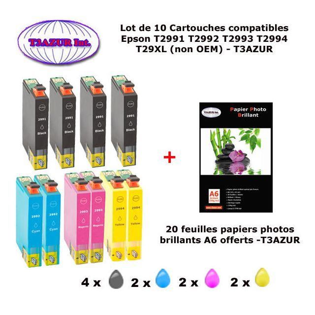 t3azur 10 pack compatible epson 29xl pour expression home xp 235 245 247 332 335 342 345 432. Black Bedroom Furniture Sets. Home Design Ideas