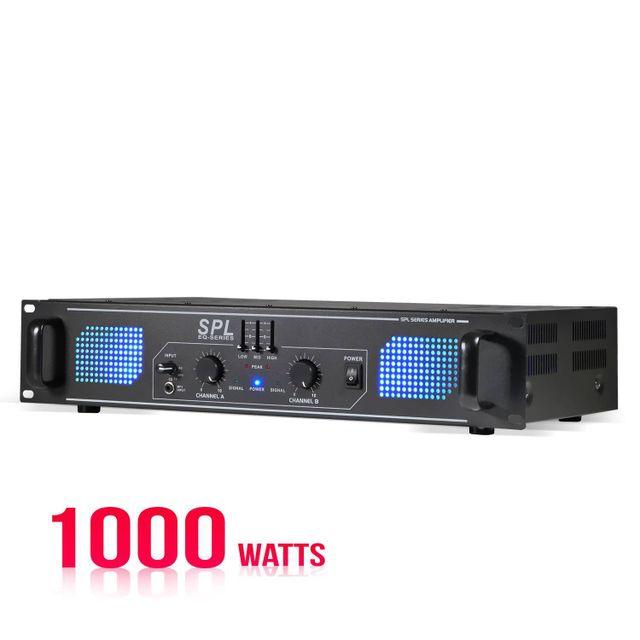 Skytec Amplificateur sono 2 x 500 W avec égaliseur 3 bandes intégré à Led Bleues - Spl1000