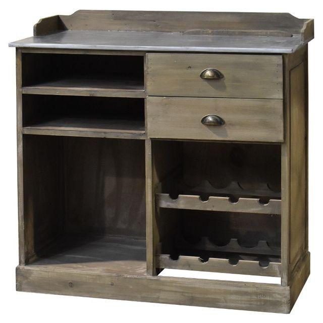 chemin de campagne meuble bahut bar billot avec tiroirs en bois zinc 101 cm