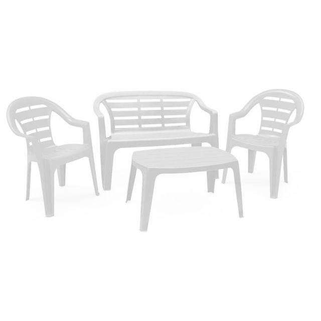 Evergreen Set Salon en résine couleur blanc Mad035AN