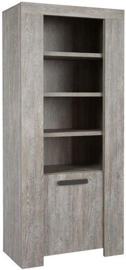 Bibliothèque contemporaine en colonne 85 cm 1 portes et 4 niches coloris  Colorado