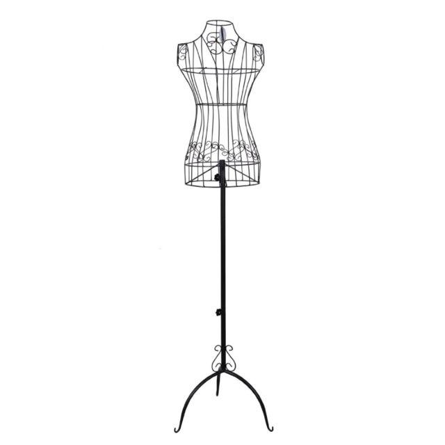 helloshop26 buste de couture hauteur r glable mannequin femme porte v tement noir 3512002. Black Bedroom Furniture Sets. Home Design Ideas