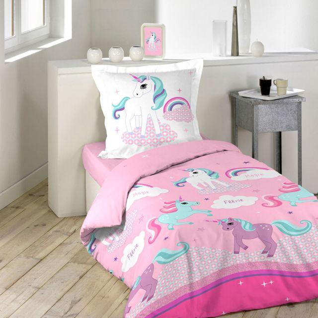 sans marque housse de couette 140 x 200 cm taie licorne multicolor 140cm x 200cm pas. Black Bedroom Furniture Sets. Home Design Ideas