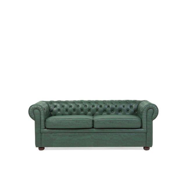 BELIANI Canapé 3 places en polyester imitation cuir vert CHESTERFIELD - vert