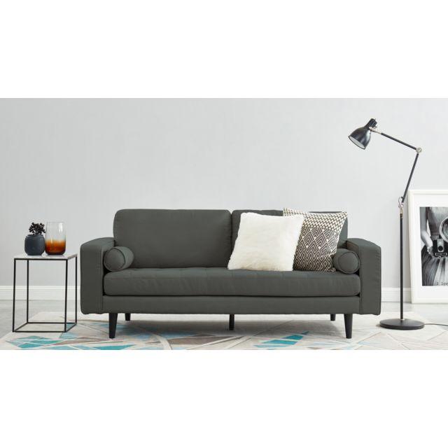 HOMIFAB Canapé droit 3 places en tissu gris - Collection Charly