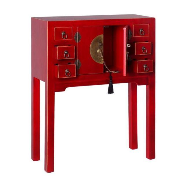 Tousmesmeubles Console 2 Portes 6 Tiroirs Rouge Meuble Chinois