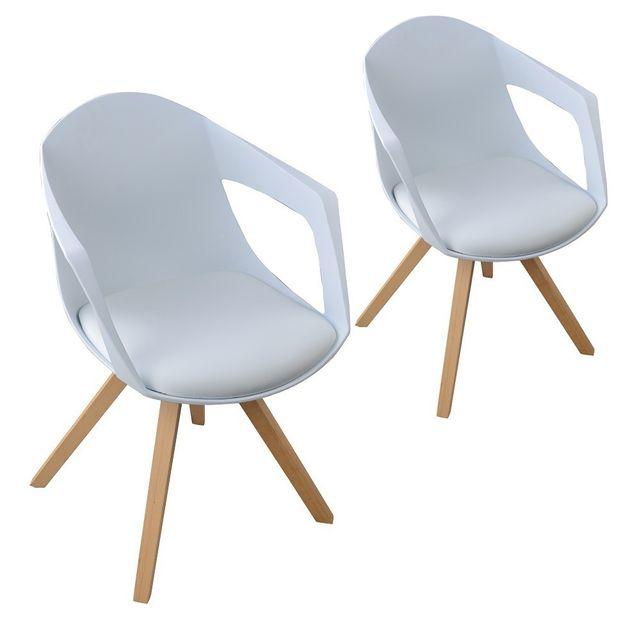 Paolo Collaner Lot de 2 chaises A nordiques bois avec accoudoirs Blanc