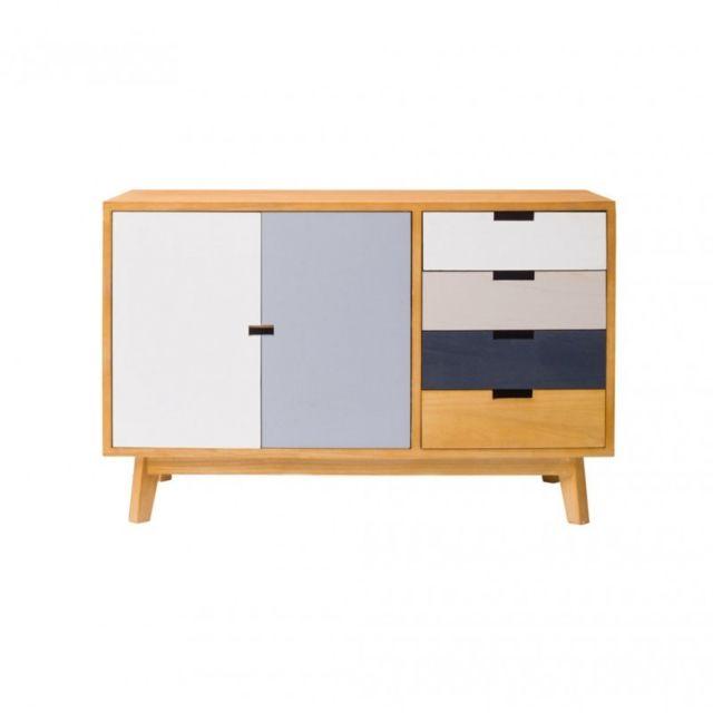 Mobili rebecca armoire meuble de rangement 4 tiroirs 2 for Armoire de rangement salon