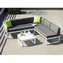 Les Essentiels By Dlm - Salon de jardin bas 5 places canapé d'angle + table basse en aluminium Moderne