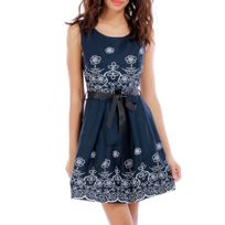 Lamodeuse - Robe patineuse bleue avec broderies