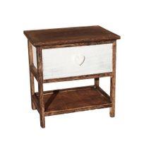 Idee Maline - Table de chevet rustique 1 tiroir