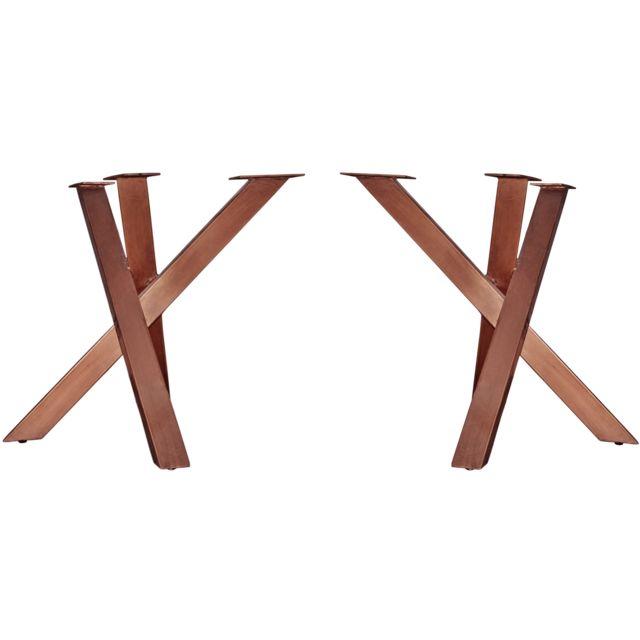 Comforium Pied De Table Moderne En Fer 90x72 Cm Coloris Brun