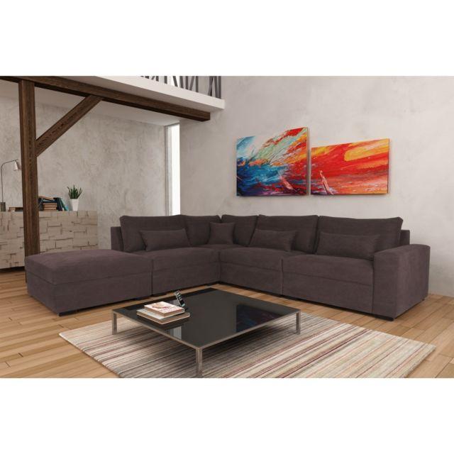 Rocambolesk Canapé Mykonos P1A11B Denim 084 brun angle gauche sofa divan