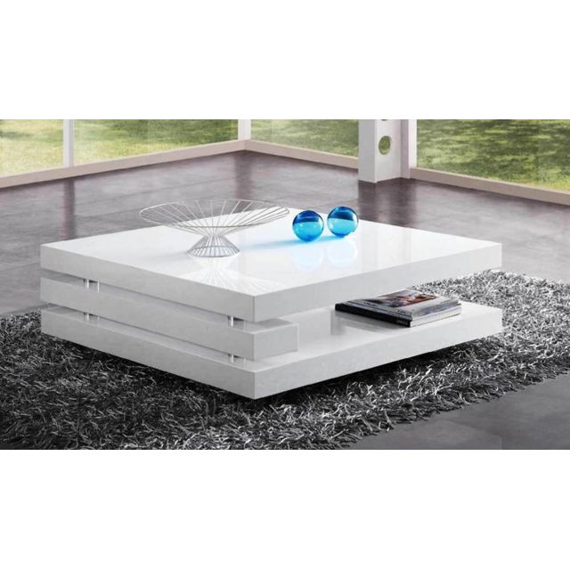 Sofamobili Table basse blanc laqué design Flapy 2