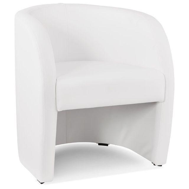 Alterego Fauteuil cabriolet de salon 'MAX' en matière synthétique blanche