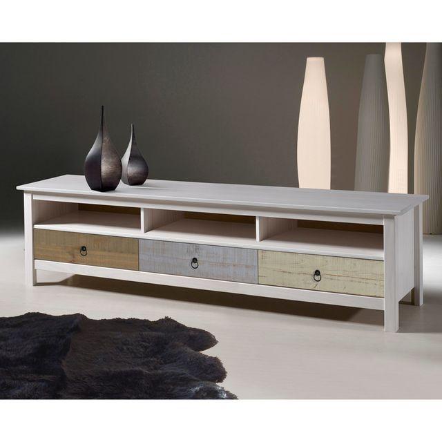 marque generique meuble tv bas en bois massif 3 tiroirs et 3 niches longueur 158cm flora blanc. Black Bedroom Furniture Sets. Home Design Ideas