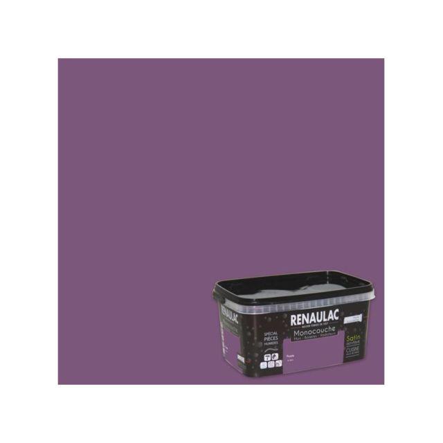 renaulac peinture murale monocouche sp ciale pieces humides 2 5 l purple satin pas cher. Black Bedroom Furniture Sets. Home Design Ideas