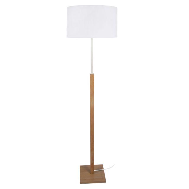 TOSEL HOD 2, Lampadaire 1 lumière Lampadaire Bois hêtre, abaj. coton,Bois Naturel/Blanc,E27,40W; 40 x 156 cm