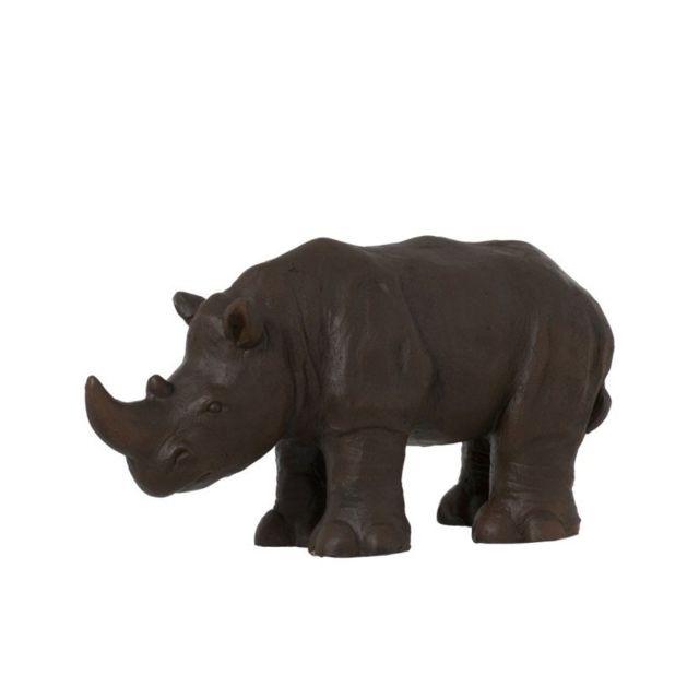 Wadiga Rhinocéros Décoratif en Résine Marron Déco Ethnique
