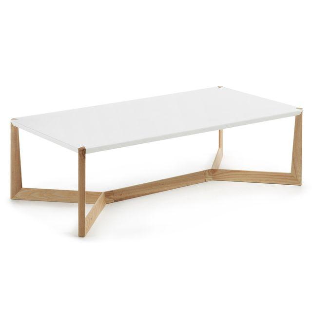 Kavehome Table basse Quatro, frene et blanc