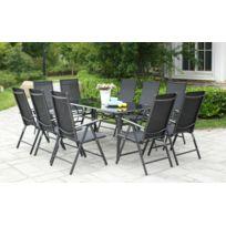 Concept Usine - Bremen 10. Grand salon de jardin aluminium 10 chaises top confort en textilènes