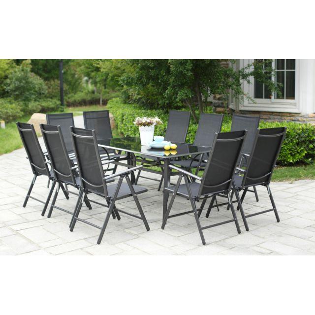 Rimini 10. Grand salon de jardin aluminium 10 chaises pliables top confort  en textilènes
