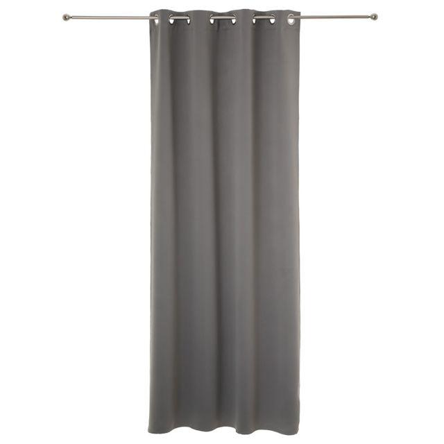 Atmosphera - Lot de 2 rideaux occultant gris à oeillets 135 x 240 cm