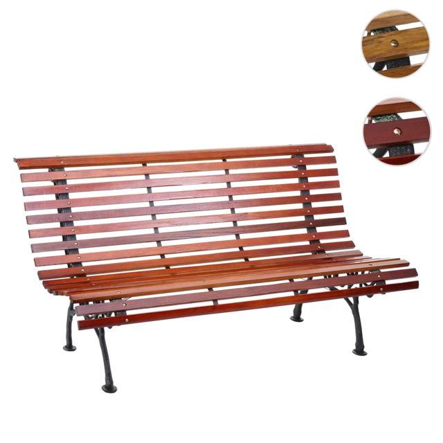 Mendler Banc de jardin Hwc-f97, banc du parc, banquette en bois, fonte, 3 places, 160cm, 26kg ~ marron