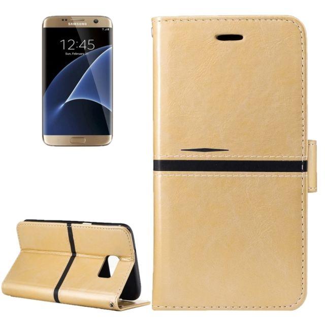 Wewoo - Housse Étui or pour Samsung Galaxy S7 Edge   G935 Crazy Horse  Texture cuir b9c34dd39c21