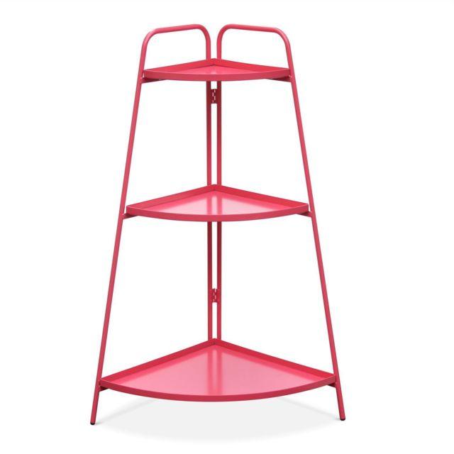 ALICE'S GARDEN Étagère d'angle Alicia rouge framboise, meuble de rangement pour intérieur et extérieur, 3 étages