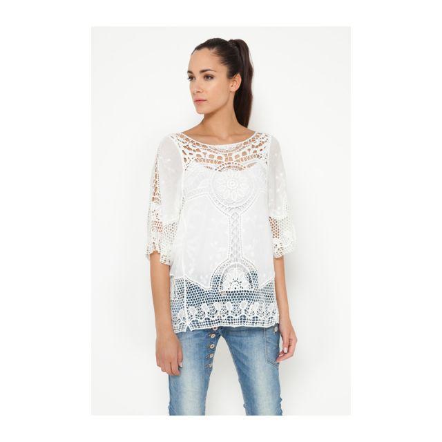 Tantra - Top en dentelle Berenice Femme Collection Auomne Hiver Beige -  Taille unique - pas cher Achat   Vente Tee-shirts, tops - RueDuCommerce 711f1a9339bc